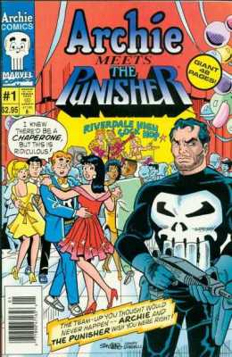 The Archie Comics version of Archie Meets the Punisher. (Aug. 1994) The Marvel Comics version had a different cover and was called The Punisher Meets Archie