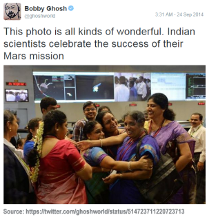 Awesome image from twitter of celebrating scientists in India after MOM's successful insertion into orbit around Mars (Source: https://twitter.com/ghoshworld/status/514723711220723713)