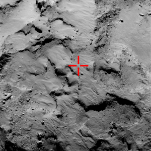 Red cross marks likely site of Philae's first touchdown. OSIRIS narrow-angle image taken from a distance of 30 km on  September 14, 2014 (prior to landing). Image courtesy of European Space Agency - ESA.