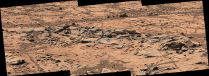 """Erosion resistance at """"Pink Cliffs"""" at base of Mount Sharp (Image Credit: NASA/JPL-Caltech/MSSS)"""