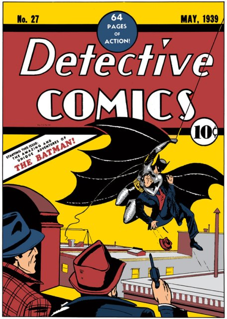 The cover of Detective Comics #27, which marked the first appearance of Batman in 1939.