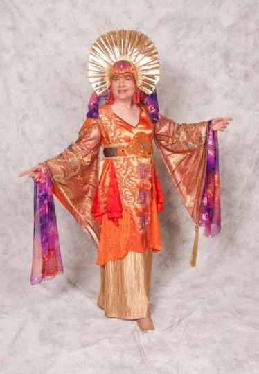 """Karen Schnaubelt, wearing her own creation, """"Dawn"""" of a pair of costumes entitled """"Dawn and Dusk"""", Costume Con 29, 2011"""