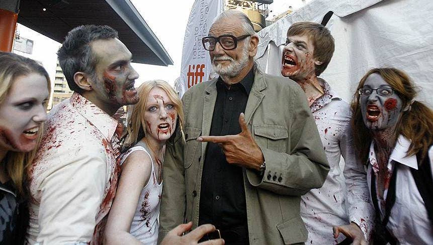 george a romero with zombies