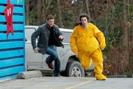 Dean chases a kid in a lion costume.