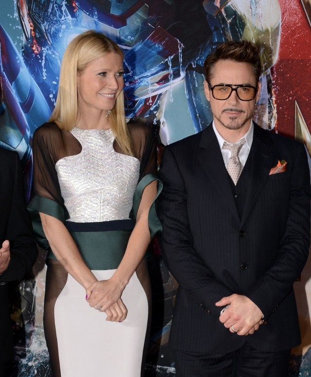 Gwyneth Paltrow and Robert Downey Jr. at Iron Man 3 Premiere