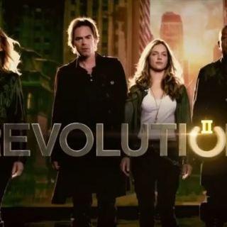 Revolution season 2 banner - Elizabeth Mitchell, Billy Burke, Tracy Spiridakos and Giancarlo Esposito