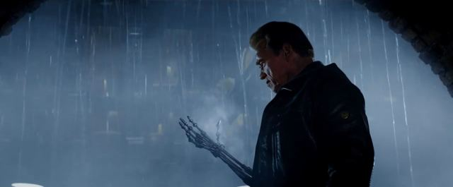 Terminator with skin removed off hand - Terminator Genisys