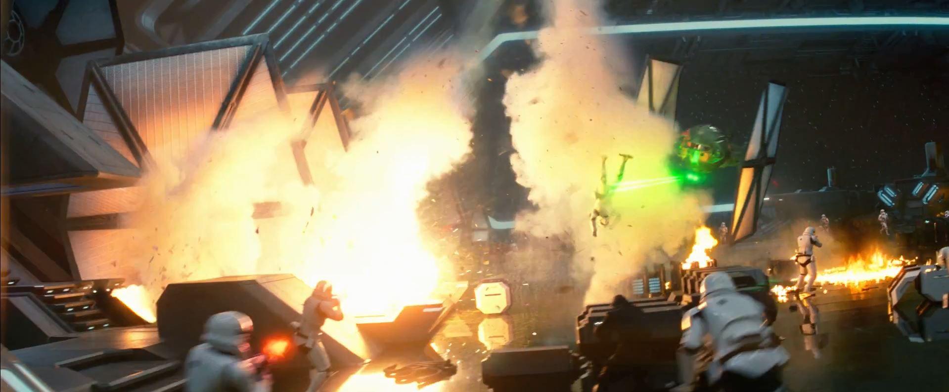 Star Destroyer hangar explosion. New Star Wars The Force Awakens Trailer Released!