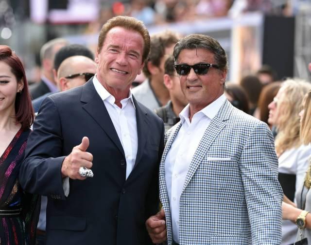 Stallone and Schwarzenegger at Terminator Genisys premiere