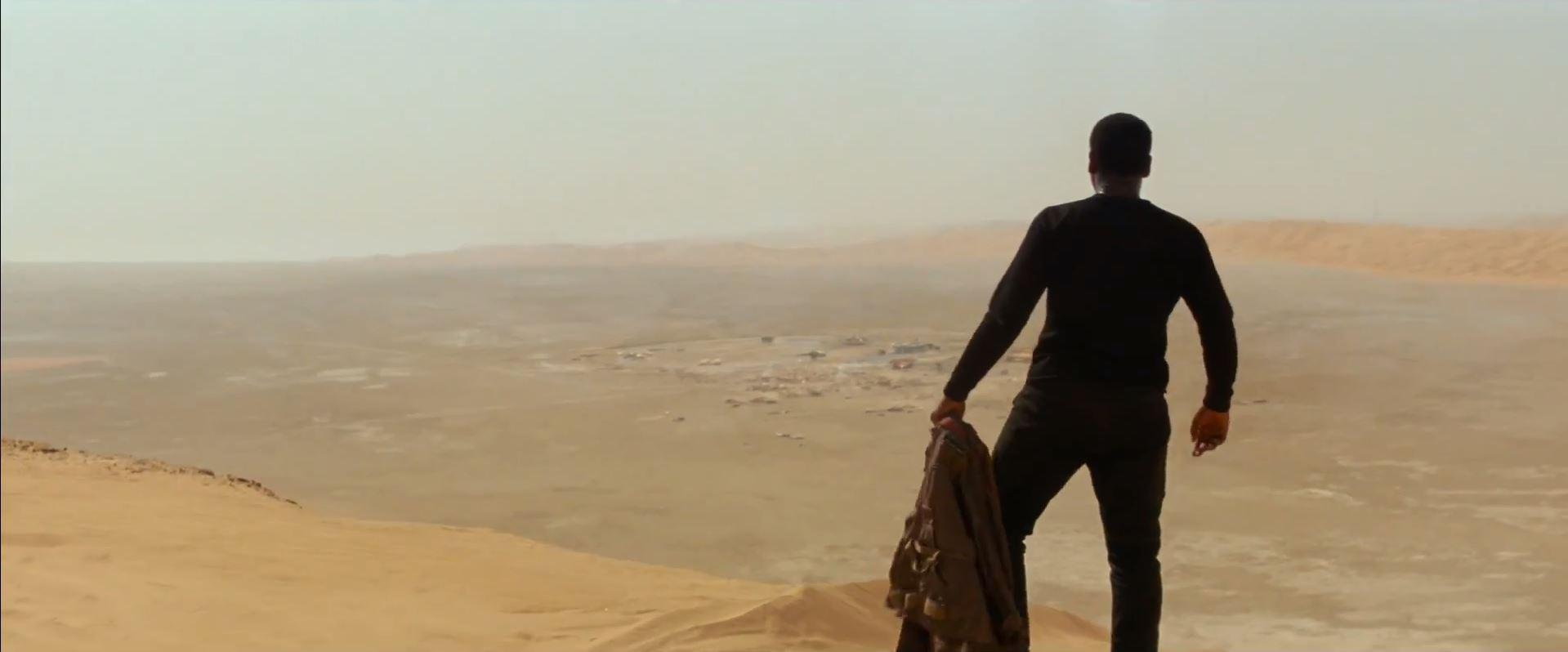 Finn (John Boyega) lands on Jakku. The Force Awakens trailer released