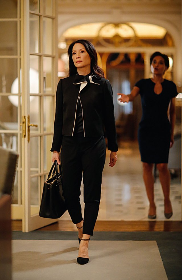 Lucy Liu in a suit visiting Morland