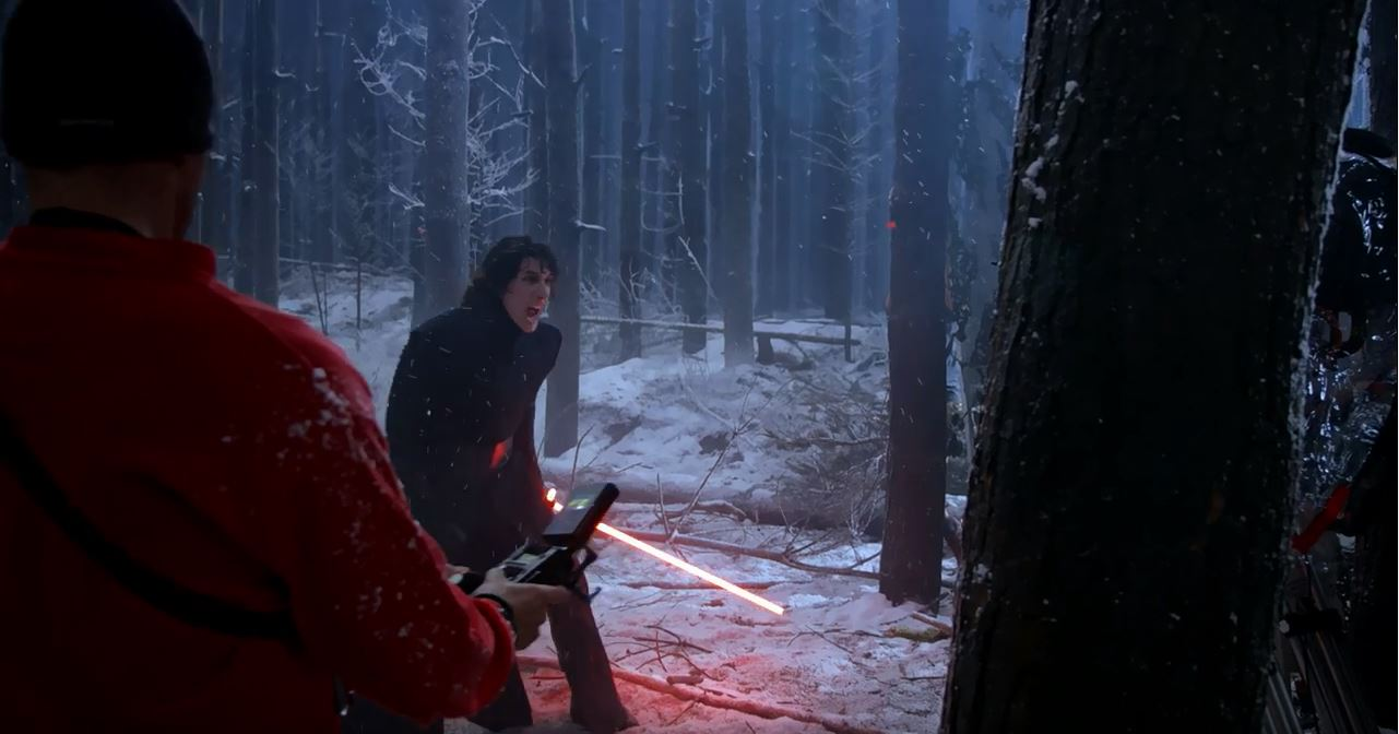 Kylo Ren fighting Rey. Force Awakens Blu-Ray release set for early April