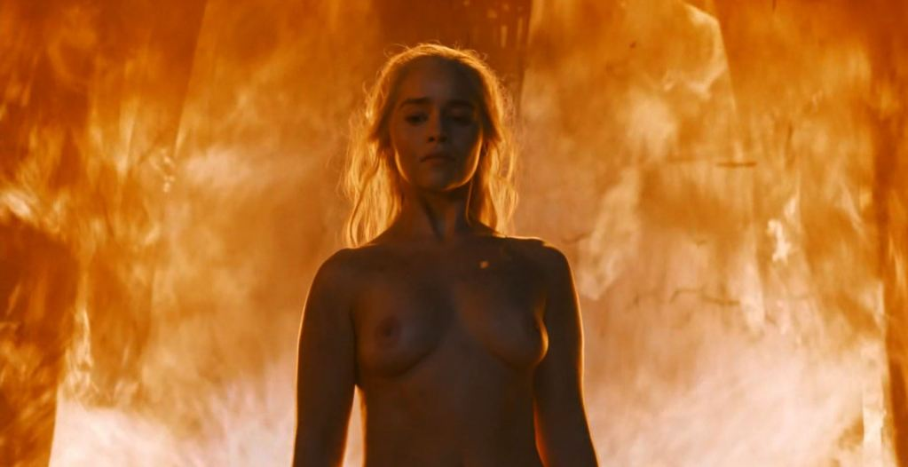 Daenerys walks naked out of the fire. Game Of Thrones S6Ep4 Book of the Stranger Review
