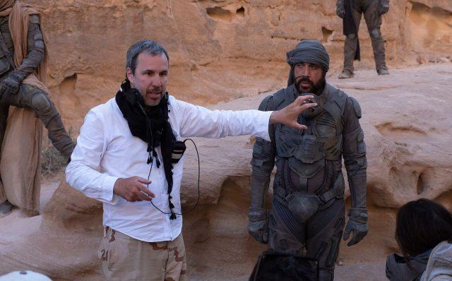 Dune 2020 - Denis Villeneuve on set with Javier Bardem as Stilgar