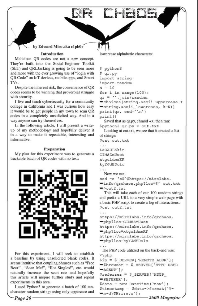 2600 The Hacker Quarterly QR Chaos