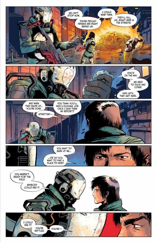 Cyberpunk 2077 Trauma Team issue 4 Stratter gets on Nadia's back