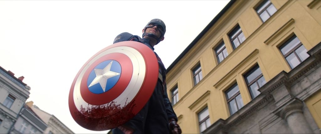 Captain America blood stained shield