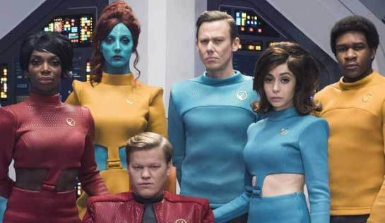 "A picture of the main cast of the Black Mirror episode ""USS Caliister."""