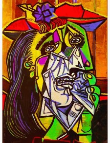 "Picasso's famous ""Weeping woman"" paintng, showing woman, weeping, as a highly-deconstructed face."