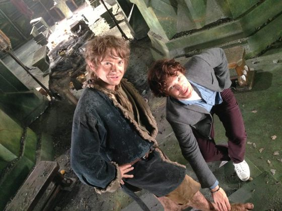 Hobbit Bilbo and Smaug set pic