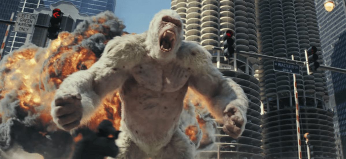 The Rock just wants to save his friend in the first trailer for Rampage.