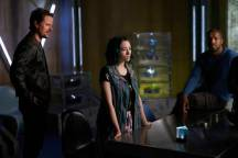 "DARK MATTER -- ""But First, We Save the Galaxy"" Episode 213 -- Pictured: (l-r) Anthony Lemke as Three, Jodelle Ferland as Five, Roger Cross as Six -- (Photo by: Russ Martin/Prodigy Pictures/Syfy)"