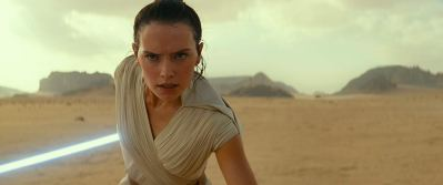 rey faces off with a tie fighter in star wars episode 9 the rise of skywalker