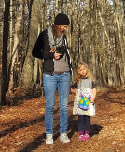 Taking my daughter out for a winter bird outing (even though it feels a lot more like spring in December).