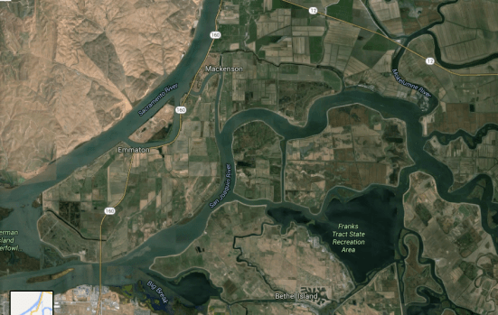 This is the Sacramento-San Joaquin Delta Region, CA. Historically, this estuary was a tidal marsh. As agriculture took over the region, the state completely redesigned the water ways to build irrigation systems that brought fresh water from the north to the south. But it didn't work as well as expected.