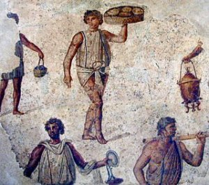 Mosaic of roman slaves