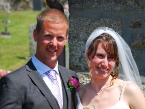 The beaming newly-weds Jon & Steph