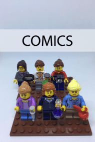 Lego figure representations of each of the six SciMoms. With the word COMICS across the top.