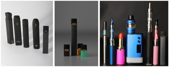Examples of commonly used e-cigarettes and vaping devices