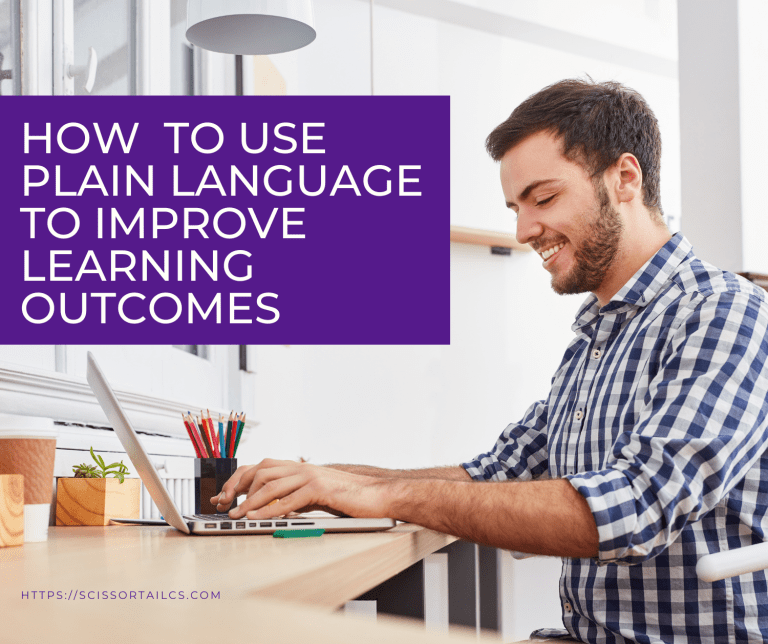 How to Use Plain Language to Improve Learning Outcomes. Man using a notebook computer and smiling.