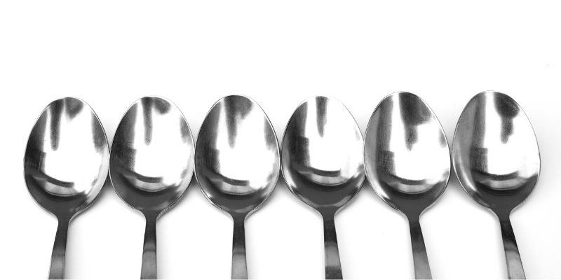 a row of spoons