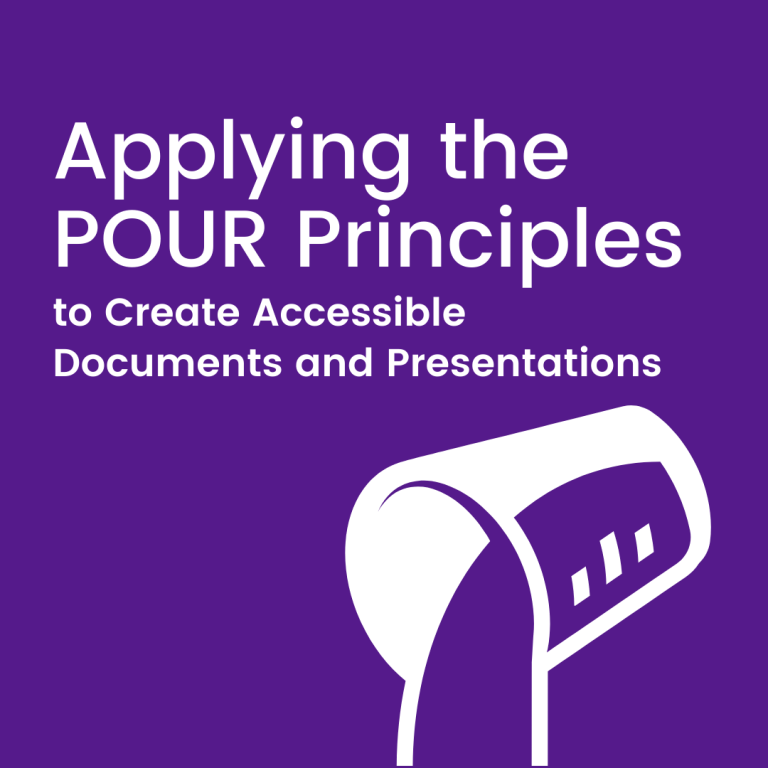 Applying the POUR Principles to Create Accessible Documents and Presentations. Illustration of a glass with liquid pouring out.