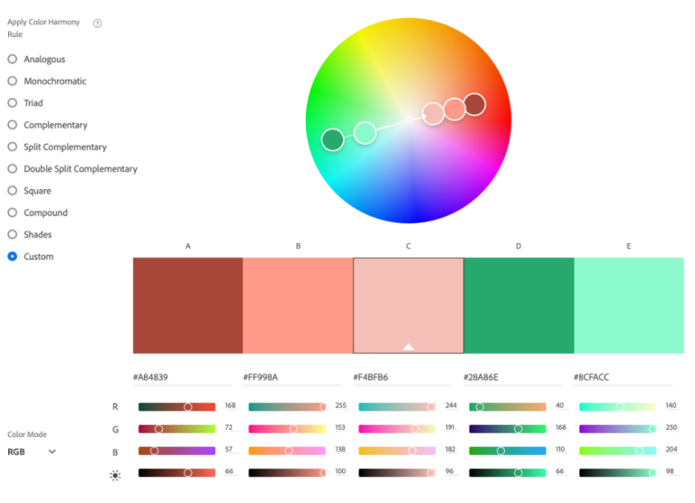 Screenshot from Adobe Color Wheel showing a custom palette of complementary colors in peach, orange, and green tones. The hex codes and RGB values are shown for each color.