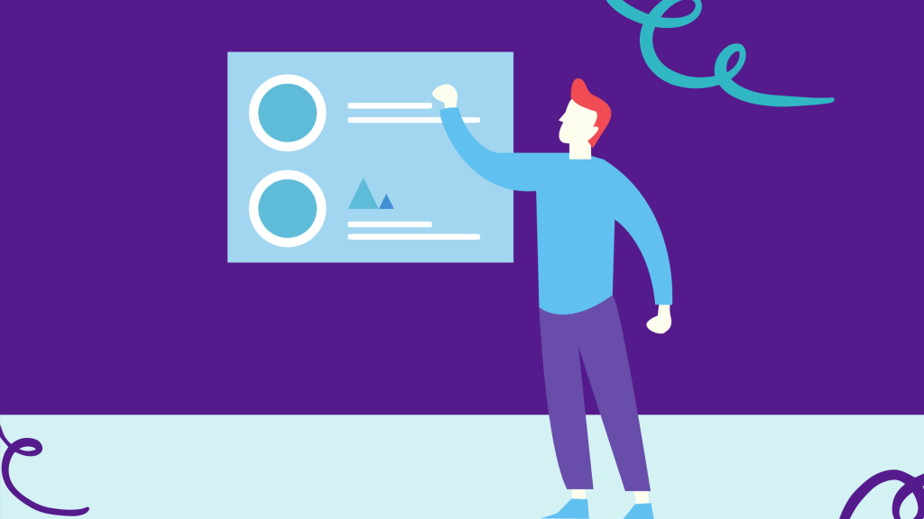 Illustrated man pointing to a slide