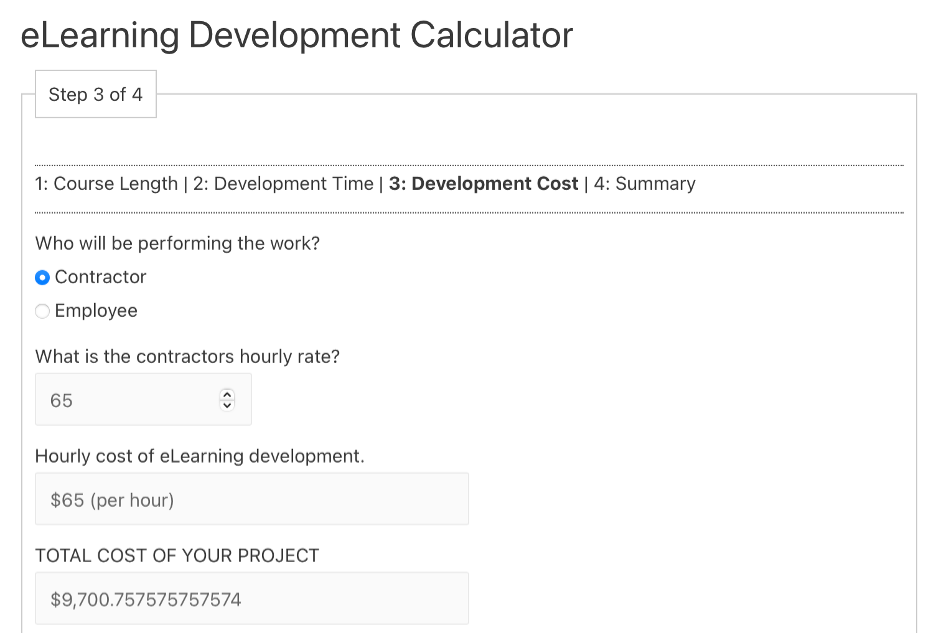 eLearning Development Calculator screenshot for step 3: Development Cost