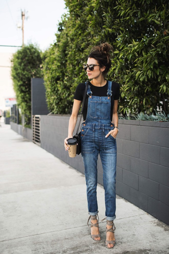 black tee with denim overall
