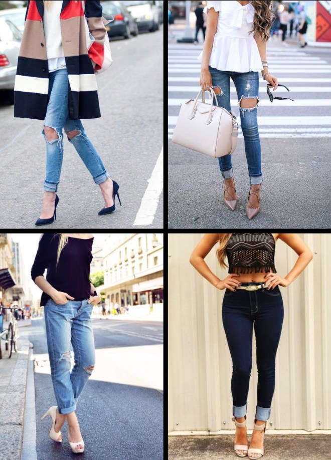 cuff jeans with high heels