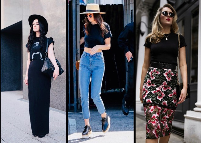 15 different outfit ideas to style one Black T-shirt - Scissor ...