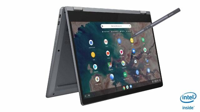 1_Lenovo IdeaPad Flex 5 Chromebook_13Inch_Graphite_Grey_Tent_Mode_Pen
