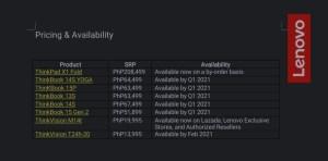Lenovo pricing revealed.