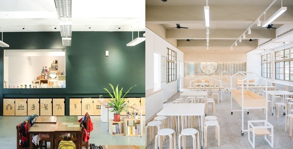 Left: Renovation of Beigang Elementary School in Xizhi District, New Taipei City. (Design Team: Üroborus Studiolab); Right: Renovation of Cafeteria at Xindong Elementary School, Tainan City. (Design Team: Yamakawa Design).