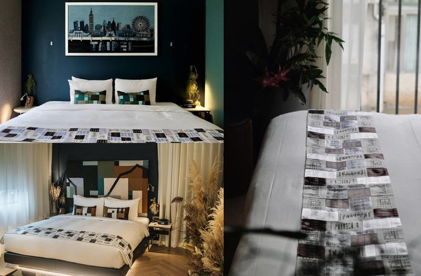 From top-left, bottom-left, to right: Livingreen Room, Hiddenspace Room, and bed running made of disposed care labels.