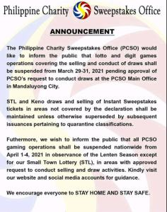 PCSO announcement