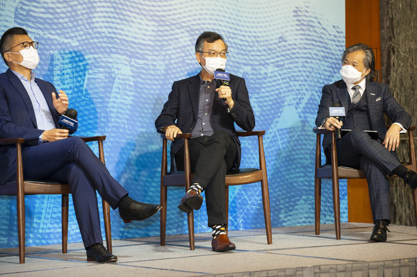 (From left) Mr Duncan Chiu, President of Hong Kong Information Technology Joint Council; Dr Lam Ching-choi, Member of the Executive Council; and Dr Martin Szeto, Acting Co-CEO cum COO of ASTRI, take part in the second panel discussion, 'What Does A Tech-Backed Sustainable Future Look Like?' at ASTRI's Smart City Forum.