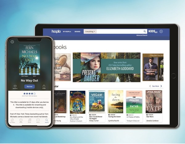 hoopla digital provides members access to borrow, download and stream diverse library content. Of the collection of titles available on hoopla, highlights include popular eBook titles such as No Way Out by Fern Michaels.