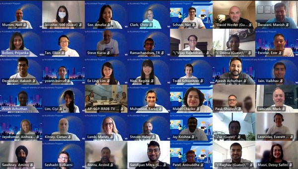 Startups joining Visa's inaugural accelerator program in Asia Pacific meet members of the Visa team at a virtual kickoff event